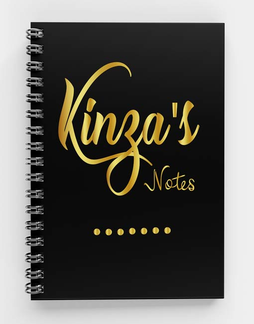Kinza's Notes-Golden and Silver Spiral notebook